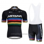 2019 Cycling Jersey UCI World Champion Movistar Black White Short Sleeve and Bib Short