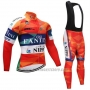 2019 Cycling Jersey Vini Fantini Orange Long Sleeve and Bib Tight