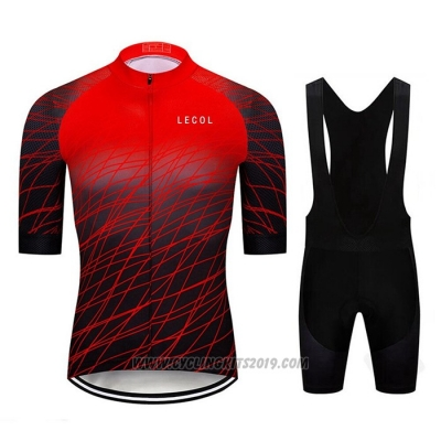 2020 Cycling Jersey Le Col Black Red Short Sleeve and Bib Short