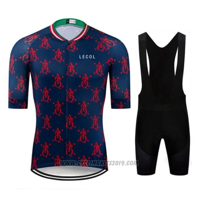 2020 Cycling Jersey Le Col Dark Blue Red Short Sleeve and Bib Short