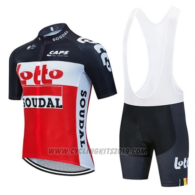 2020 Cycling Jersey Lotto Soudal Black Red White Short Sleeve and Bib Short