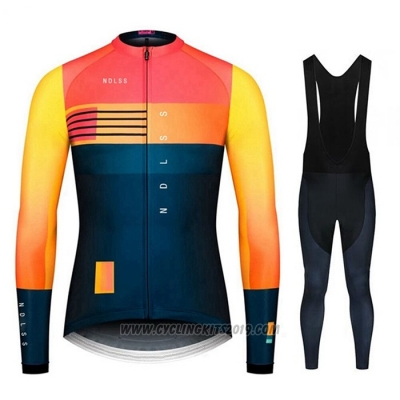 2020 Cycling Jersey NDLSS Blue Yellow Long Sleeve and Bib Tight
