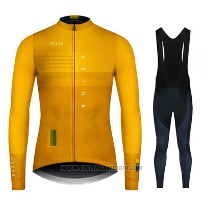 2020 Cycling Jersey NDLSS Yellow Long Sleeve and Bib Tight