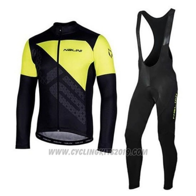 2020 Cycling Jersey Nalini Black Yellow Long Sleeve and Bib Tight