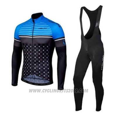 2020 Cycling Jersey Nalini Blue Black Long Sleeve and Bib Tight