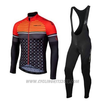 2020 Cycling Jersey Nalini Orange Black Long Sleeve and Bib Tight