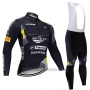 2020 Cycling Jersey Trek Selle San Marco Black Yellow Long Sleeve and Bib Tight