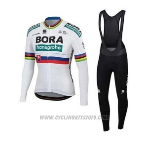 2020 Cycling Jersey UCI World Champion Bora White Long Sleeve and Bib Tight