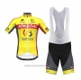 2020 Cycling Jersey Wallonie Bruxelles Yellow Red Short Sleeve and Bib Short