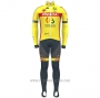 2021 Cycling Jersey Wallonie Bruxelles Yellow Long Sleeve and Bib Tight