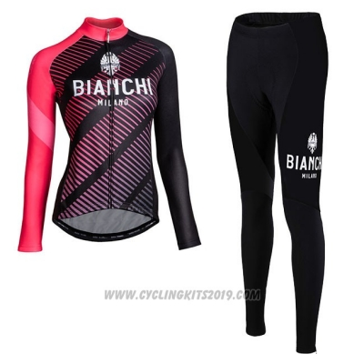 Cycling Jersey Women Bianchi Milano Catria Black Pink Long Sleeve and Bib Tight