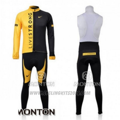 2009 Cycling Jersey Livestrong Black and Yellow Long Sleeve and Bib Tight