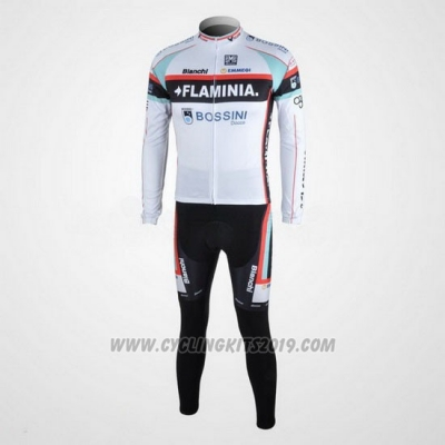 2010 Cycling Jersey Bianchi White Long Sleeve and Bib Tight