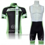 2011 Cycling Jersey Cannondale White and Green Short Sleeve and Bib Short