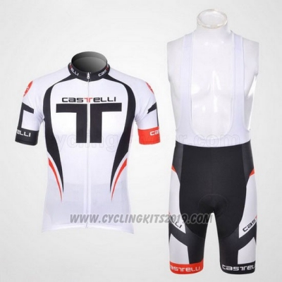 2011 Cycling Jersey Castelli White Short Sleeve and Bib Short