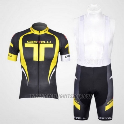 2011 Cycling Jersey Castelli Yellow and Black Short Sleeve and Bib Short