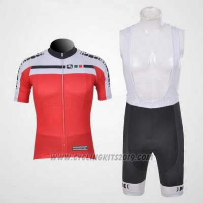 2011 Cycling Jersey Giordana White and Red Short Sleeve and Bib Short