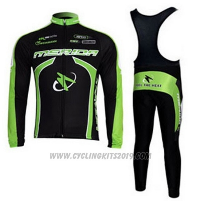 2011 Cycling Jersey Merida Black and Green Long Sleeve and Bib Tight