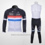 2011 Cycling Jersey Trek Leqpard Campione France Black and White Long Sleeve and Bib Tight