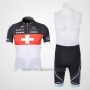 2011 Cycling Jersey Trek Leqpard Campione Switzerland Red and White Short Sleeve and Bib Short