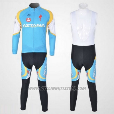 2012 Cycling Jersey Astana Light Blue and Black Long Sleeve and Bib Tight