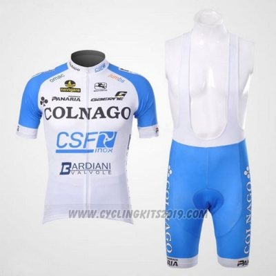 2012 Cycling Jersey Colnago Sky Blue and White Short Sleeve and Bib Short