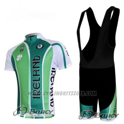 2012 Cycling Jersey Ireland White and Green Short Sleeve and Bib Short