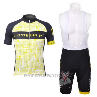 2012 Cycling Jersey Livestrong Black and Yellow Short Sleeve and Bib Short