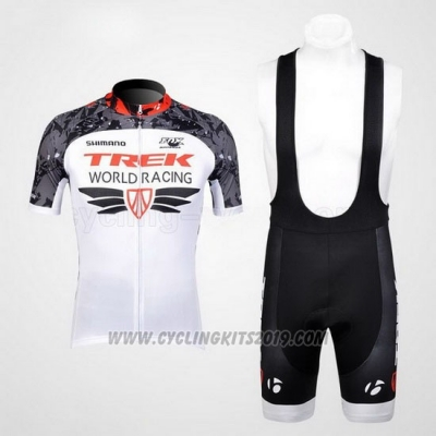 2012 Cycling Jersey Trek White and Gray Short Sleeve and Bib Short