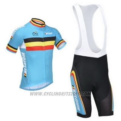 2013 Cycling Jersey Belgium Light Blue and Black Short Sleeve and Bib Short