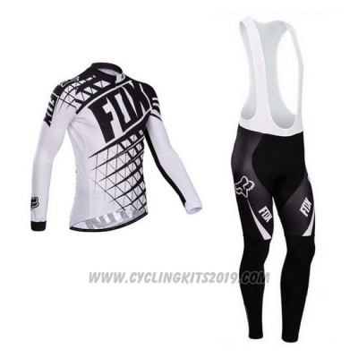 2014 Cycling Jersey Fox White and Black Long Sleeve and Bib Tight