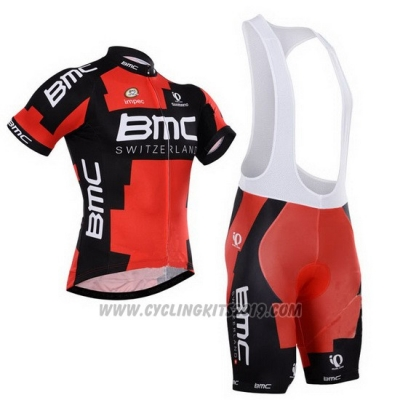 2015 Cycling Jersey BMC Black and Orange Short Sleeve and Bib Short