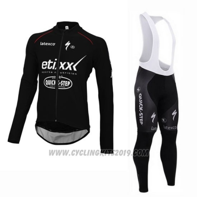 2015 Cycling Jersey Ettix Quick Step Black and White Long Sleeve and Bib Tight