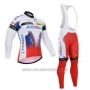 2015 Cycling Jersey Katusha White and Red Long Sleeve and Bib Tight