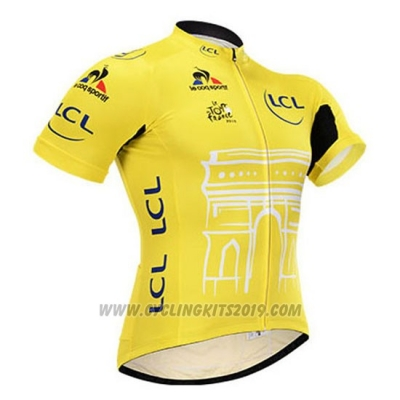 2015 Cycling Jersey Tour de France Yellow Short Sleeve and Bib Short
