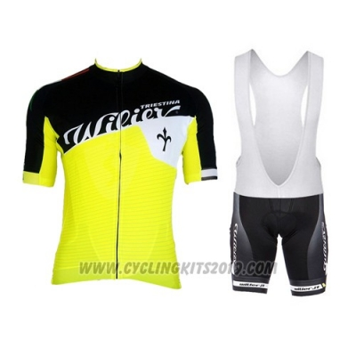 2015 Cycling Jersey Wieiev Black and Yellow Short Sleeve and Bib Short