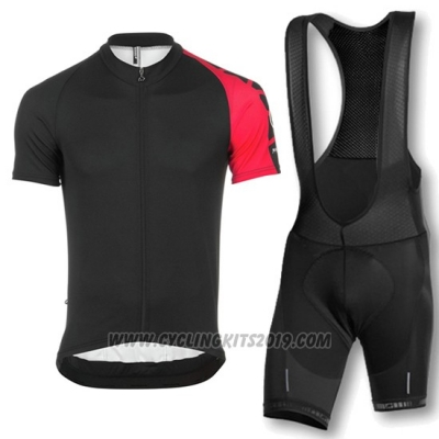 2016 Cycling Jersey Assos Black and Red Short Sleeve and Bib Short