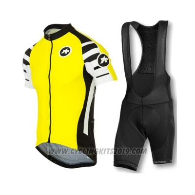 2016 Cycling Jersey Assos Yellow Short Sleeve and Bib Short