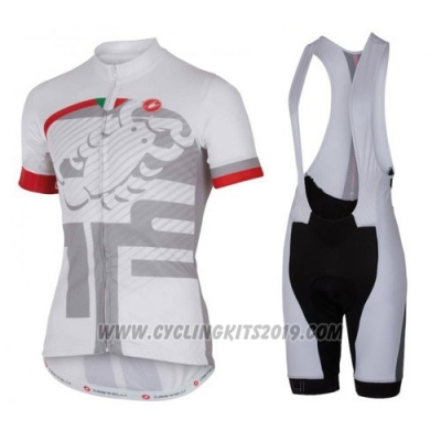 2016 Cycling Jersey Castelli White and Red Short Sleeve and Bib Short