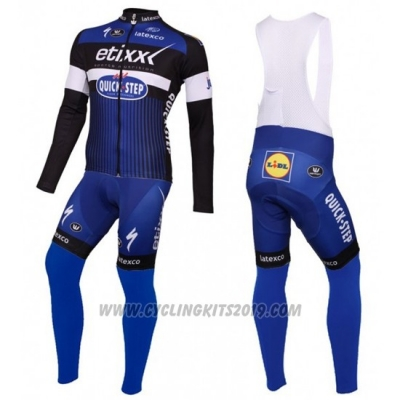 2016 Cycling Jersey Etixx Quick Step Blue and Black Long Sleeve and Bib Tight