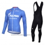2016 Cycling Jersey Gazprom Rusvelo Colnago Blue and White Long Sleeve and Bib Tight
