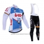 2016 Cycling Jersey Lotto Fix All White and Blue Long Sleeve and Bib Tight