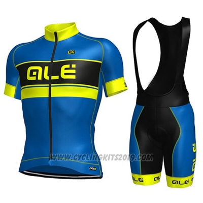 2017 Cycling Jersey ALE Blue and Yellow Short Sleeve and Bib Short