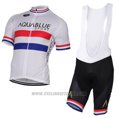 2017 Cycling Jersey Aqua Bluee Sport Campione British White Short Sleeve and Bib Short
