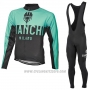 2017 Cycling Jersey Bianchi Milano Ml Green and Black Long Sleeve and Bib Tight