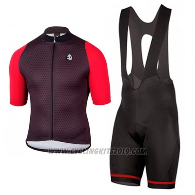 2017 Cycling Jersey Etxeondo Neo Black and Red Short Sleeve and Bib Short
