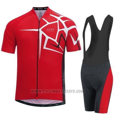 2017 Cycling Jersey Gore Bike Wear Power Adrenaline Red Short Sleeve and Bib Short