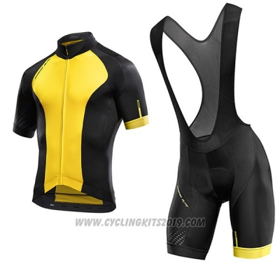 2017 Cycling Jersey Mavic Yellow and Black Short Sleeve and Bib Short