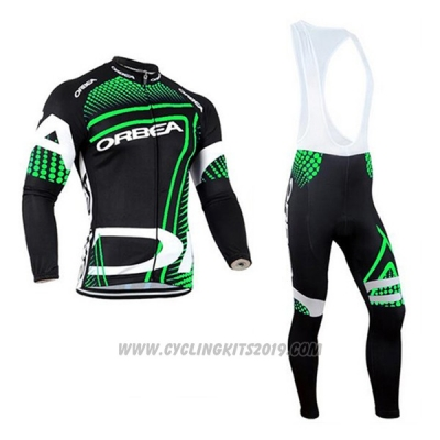 2017 Cycling Jersey Orbea Green and Black Long Sleeve and Bib Tight