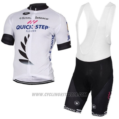 2017 Cycling Jersey Quick Step Floors White Short Sleeve and Bib Short
